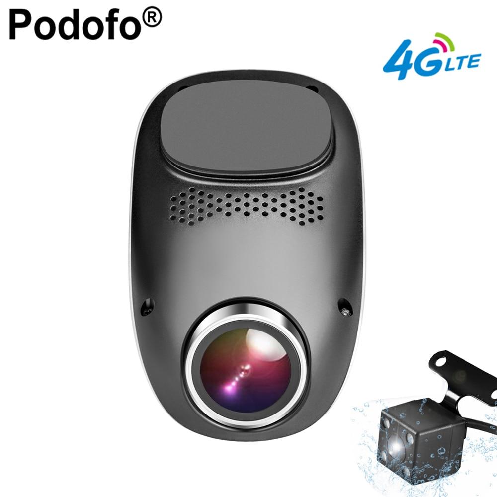 Podofo 4 г тире Камера Android GPS ADAS регистратор два объектива регистраторы Full HD 1080 P мини-петля Запись dashcam Видеорегистраторы для автомобилей Wi-Fi