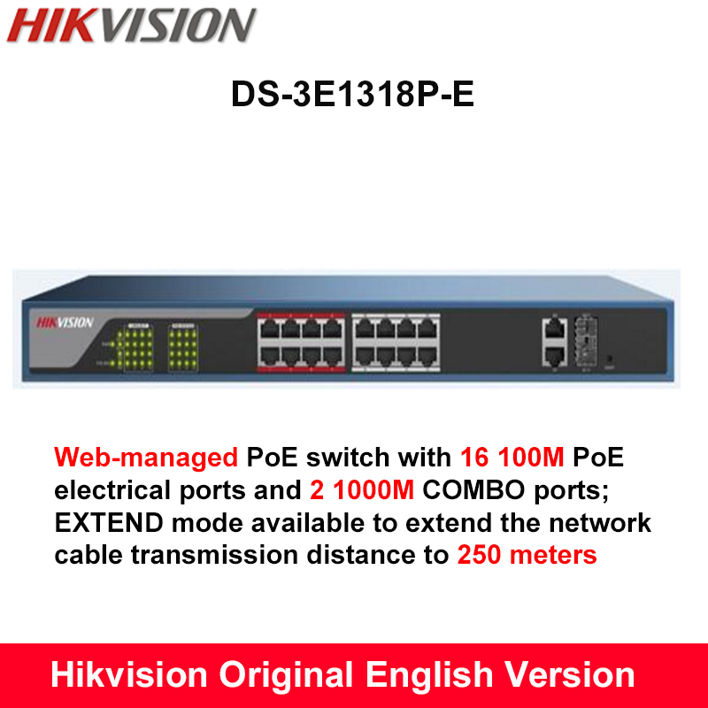 Hikvisio DS-3E1318P-E Web-managed 18-port POE switch 802.3af/at PoE standard 16 100M PoE electrical ports and 2 1000M COMBO port cctv 4 port 10 100m poe net switch hub power over ethernet poe
