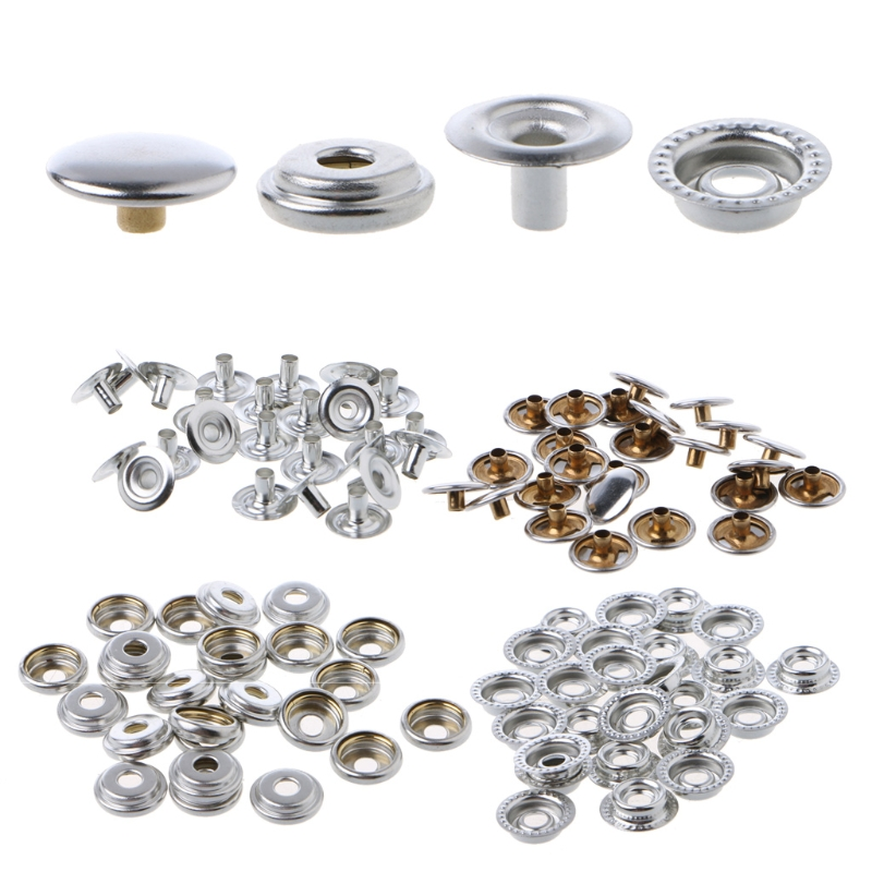 100Pc Marine Boat Canvas Stainless Steel Fastener Snap Press Stud Cap Button Marine Hardware Boat Snap Fasteners Popper Press