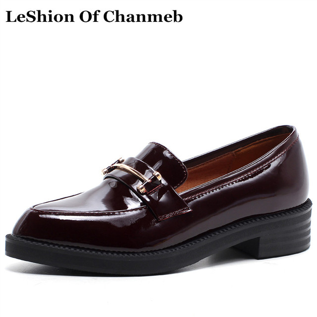 2018 Spring Summer Female Oxford Shoes Black Women Dress Shoes Wine