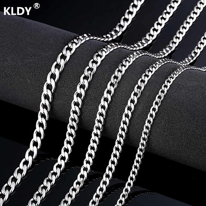 KLDY męska łańcuch na szyję naszyjnik ze stali nierdzewnej dla mężczyzn srebrny łańcuch mężczyzna naszyjnik hip hop naszyjniki hurtownie cadena hombre