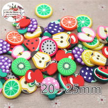 mix fruit slice 20PCS 25mm polymer clay Flatback Cabochon Miniature Food Art Supply Decoration Charm Craft