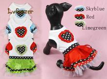 Pet Products Dog Supplies color heart Puppy cotton Vest Princess Dress Clothing