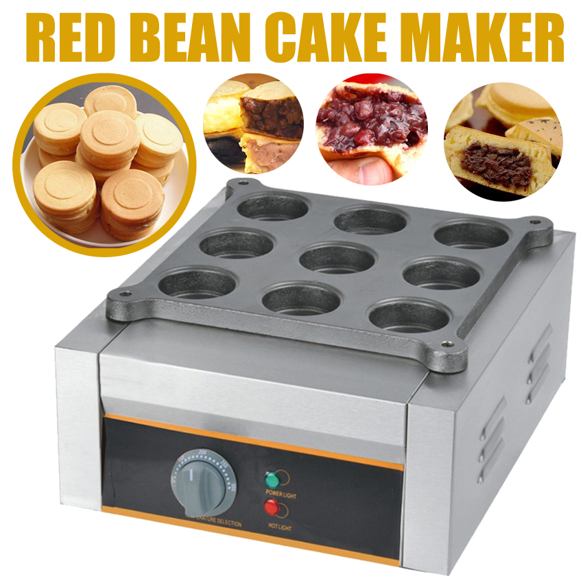 1pc High Quality Electric Non-Stick Cooking Surface 9 Holes Red Bean Cake Machine 110/220V Red Bean Cake Maker 2500W