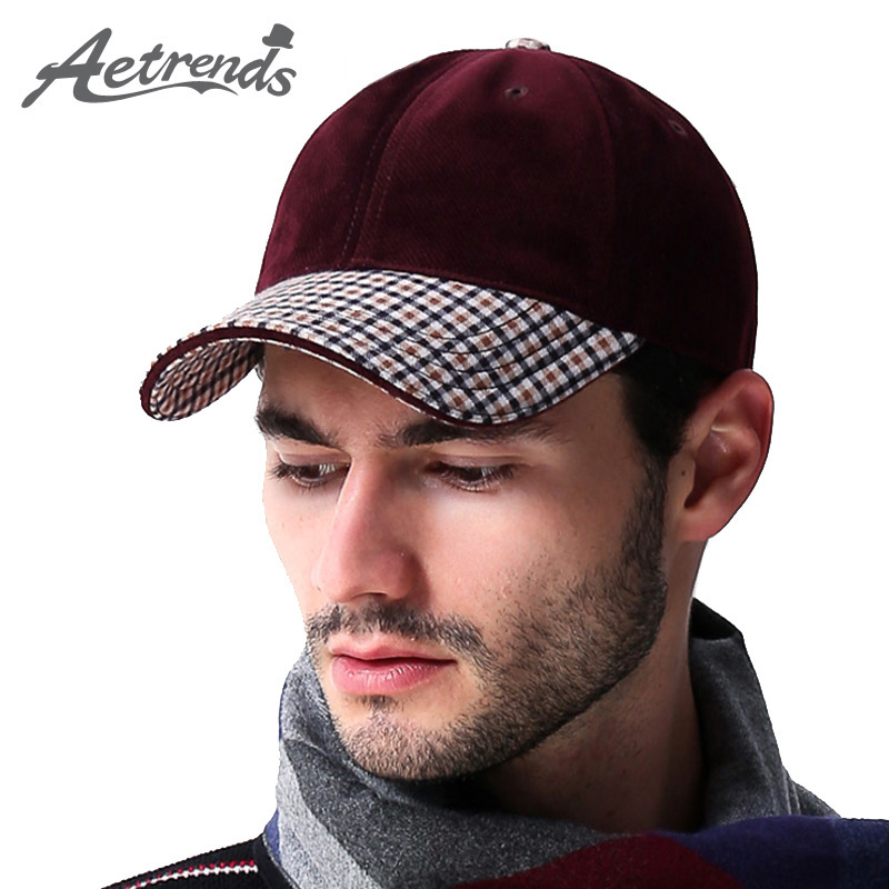 [AETRENDS] Vintage plaid suede cap luxe merk mannen baseball caps rusland winter outdoor dad hoeden man golf sport hoed Z-3031