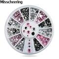 2015 Nueva Rosa Claro Gris Mix Tamaños Rhinestone Nail Art Decoraciones Juego de Ruedas Glitter Diseño Encanto DIY Tools Uñas