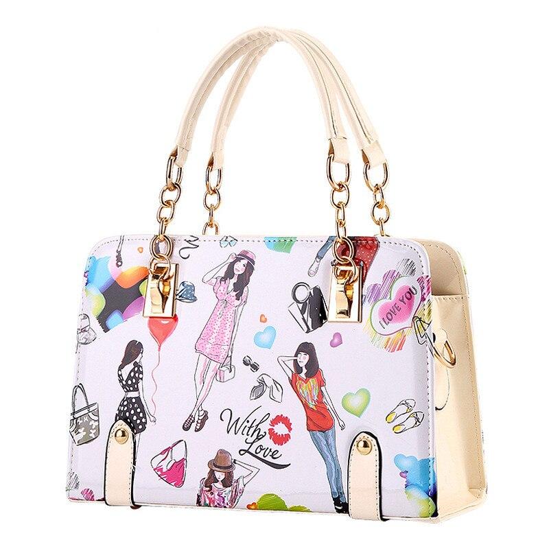 Elegant Fashion PU Women Handbag Shoulder Bag Shoulder Strap Reglable Beige Crossbody Messenger Cartoon Pattern fashion elegant m