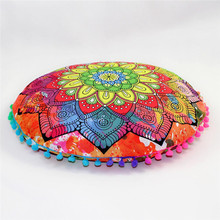 Indian Mandala Floor Pillows Round Bohemian Cushion Cover Case Cushions