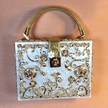 Free shipping Fashion flower metal carved metal hollow engraved retro Shoulder Messenger Bag