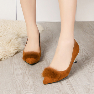 Image 3 - Lucyever 2019 New Shallow Women Pumps Pointed Toe Flock High Heels Ladies Shoes Sexy Thin Heeled Fur Ball Party Shoes Woman