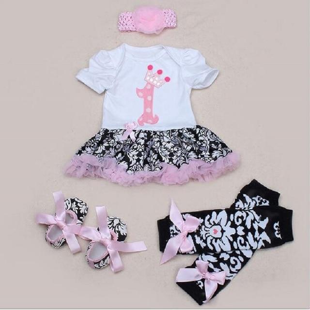 Лето девочка одежда новорожденный одежда 4 шт./компл. ползунки Кружева Пачка Ползунки Платье Jumpersuit + Повязка + Обувь + Kneepad