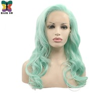 HAIR SW Light Pastel Green Long Wavy Synthetic Lace Front Wig With Long Bangs Glueless Heat