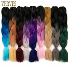 Ombre Braiding Hair 100g/piece 24inch VERVES Synthetic Two Tone High Temperature Fiber Jumbo Braid Hair Extensions(China)
