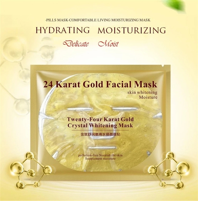 24K Gold Collagen Face Mask Crystal Gold Collagen Facial Mask Moisturizing whitening Anti-aging Face Skin Care Korean Cosmenics 1