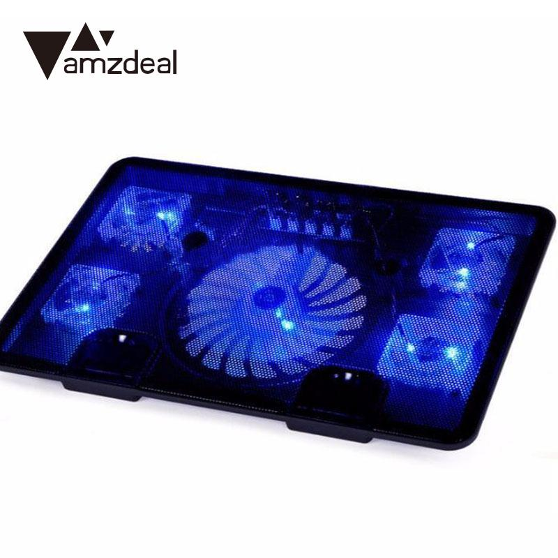 amzdeal 5 Fans 2 USB Cooling Fan Cooler Pad Base LED Computer Fan Stand For Notebook Laptop PC Stand Holder цена