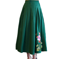 2019 summer vintage Cotton and linen skirts women spring new Embroidery skirts Casual Loose Large size Floral skirt women