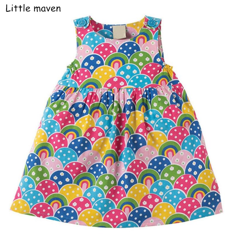 Little maven 2018 new summer baby girls brand dress kids Cotton children colorful rainbow sleeveless dresses S0305