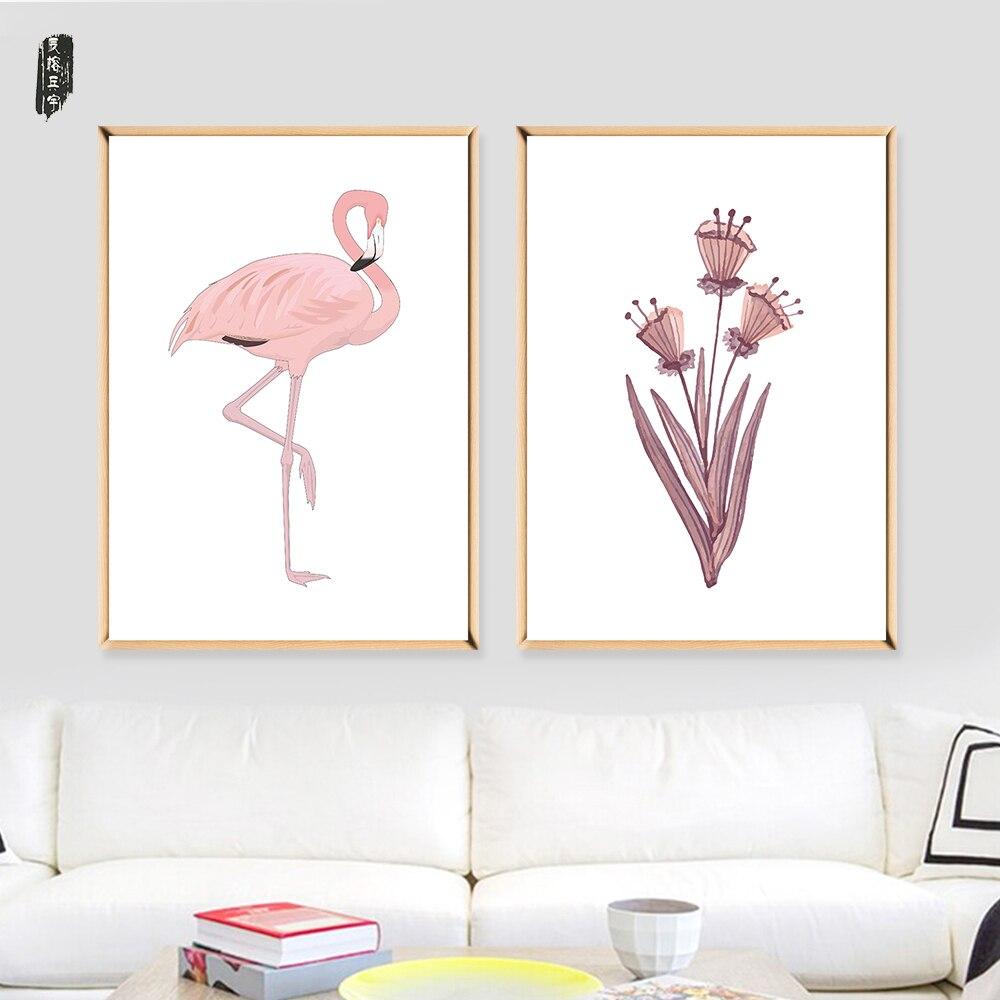ღ Ƹ̵̡Ӝ̵̨̄Ʒ ღArte de la pared lona Aves y flores lienzo decoración ...