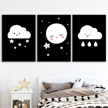Dibujos Animados lindo nube Luna lluvia pared arte pintura lienzo ...