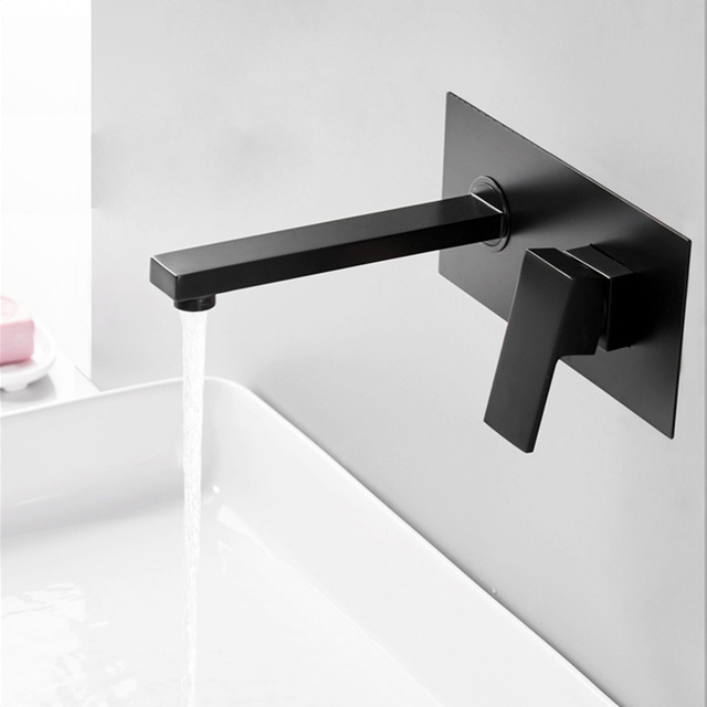 Bakala Luxury Matte Black Bathroom Faucet Basin Sink Tap Wall Mounted Square Br Mixer Lt