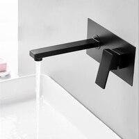 BAKALA Luxury Matte Black Bathroom Faucet Basin Sink Tap Wall Mounted Square Brass Mixer Tap LT 320HR