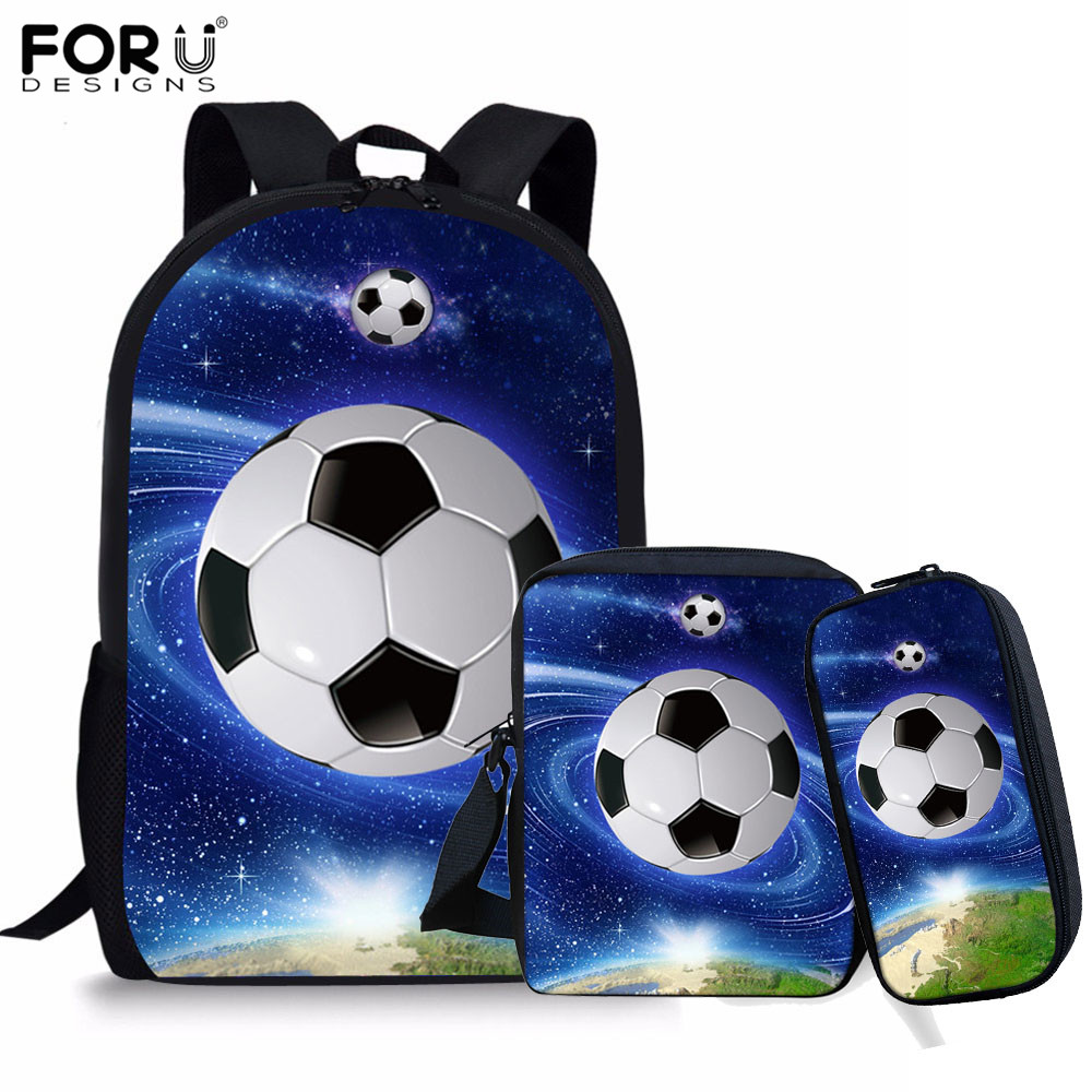 FORUDESIGNS Children School Bag For Boys Foot Ball Pattern Orthopedic Backpack Schoolbag Kids Book Bags 2019 New Gifts 3pcs/set