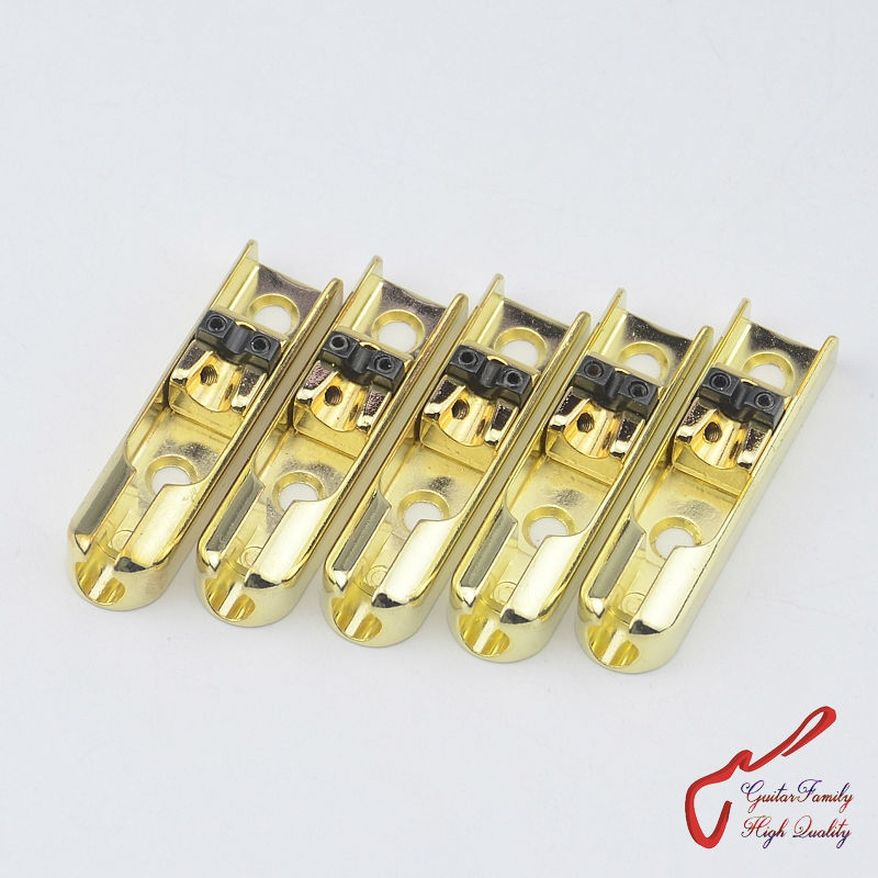 1 Set ( 5 pieces ) GuitarFamily Single-String Bass Bridge With Lock Down For 5 Strings Electric Bass  ( Gold ) MADE IN KOREA 4pcs 990l electric bass guitar string 045 090 strings for electric bass with colored box