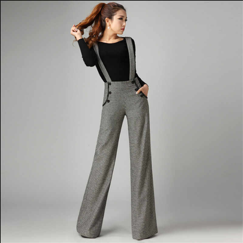 Women Wool Pants For Office Autumn And Winter Thicken Woolen Trousers Stripped With Belt Bib Pants Wide Leg Pants W1303