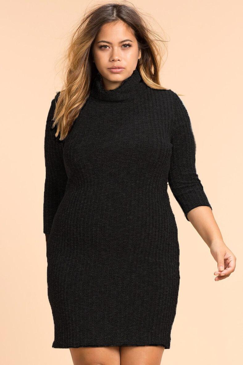 US $12.85 39% OFF|2018 Autumn Winter Dress Plus Size Women Dress Big Size  Turtleneck Dress Long Sleeve Knitted Dress Sweater 5XL 6XL Vestidos-in ...