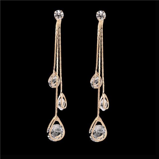 Oathyan Fashion Shining Clear Tear Drop Wedding Earrings For Women Exquisite Gold Color Line