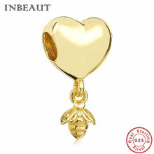 04d654dc6 Gold-color Honeybee Heart Beads fit Pandora Bracelet Authentic 925 Sterling Silver  Bee Charm Pendant for Honeycomb Necklace Girl