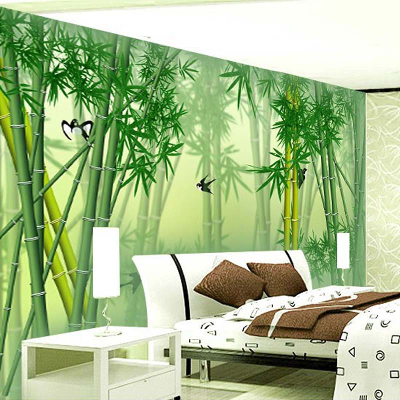 Custom 3d mural wallpaper modern chinese green bamboo wall for 3d mural wallpaper for bedroom