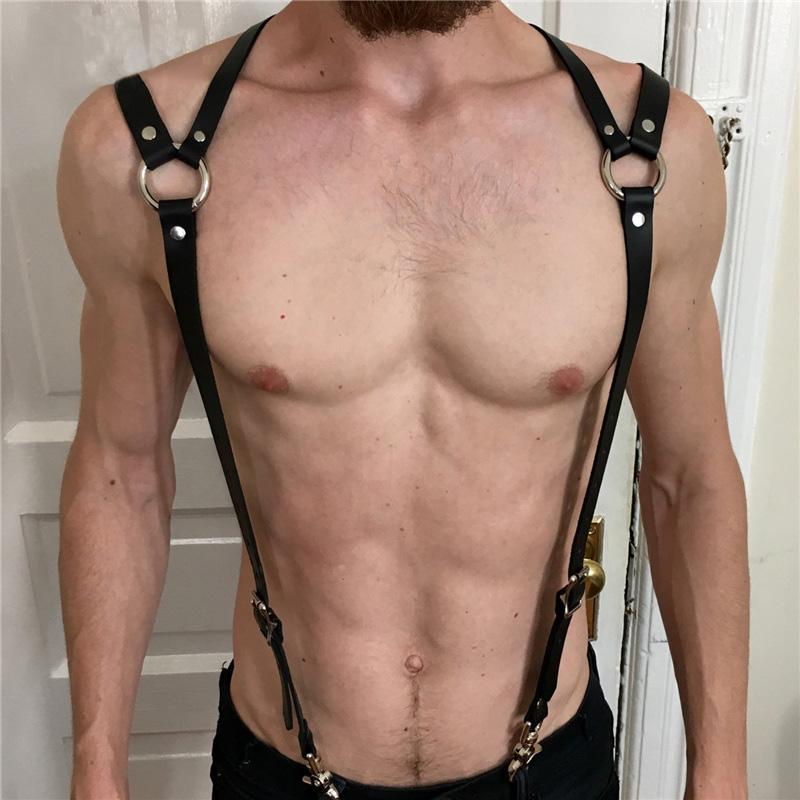 PU Leather Suspenders Straps Adjustable Trousers Braces Suspender Belts With Strong Metal Clips Men Body Bondage Harness Belts