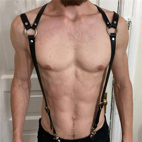PU Leather Suspenders Straps Adjustable Trousers Braces Suspender Belts With Strong Metal Clips Men Body Bondage Harness Belts Pakistan