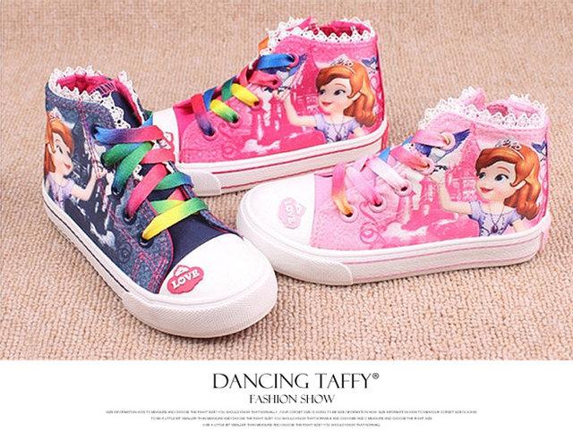 New Beauty Children s Shoes Girls 2017 Sofia Princess Cartoon Running  Sneakers Fashion Canvas Kids Flat Sneaker ... 23cbda4ee
