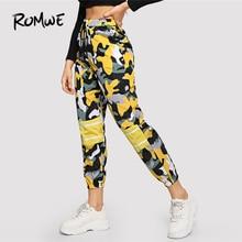 ROMWE Camouflage Imprimer Cordon à la Taille Pantalon 2019 Mode Mi Taille  Femelle Frais Printemps Automne décontracté Femmes Pan. a8a0b1b80b1