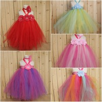 European Style Baby Girl Tutu Dress Fluffy Kids Princess Flower Sundress Backless Girl Ball Gown Mesh