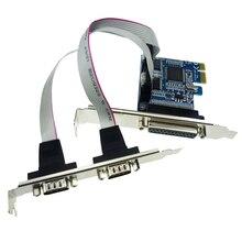PCIE PCI-E двойной плата последовательного порта DB9 RS232 2-Порты и разъёмы LPT параллельный порт X1 плата последовательного доступа 2 серийный com карты расширения PCI02304