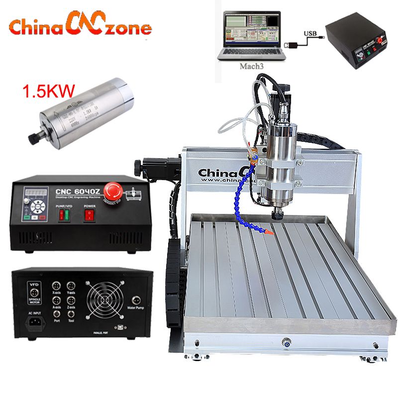 CNC Router 6040 1.5KW 3axis CNC Router Engraver Aluminum Copper Metal machine USB Mach3 control with water chiller mini CNC no tax to eu 1500w cnc router 8060 3axis usb port mach3 control ball screw for metal aluminum stell wood etc