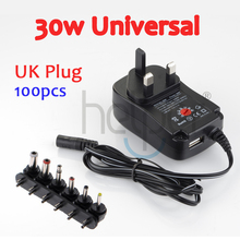 100pcs 3V four.5V 5V 6V 7.5V 9V 12V Common AC/DC Charger 30w Laptop computer Pill PC Digital camera Routers, Switching Energy UK Plug Wholesale