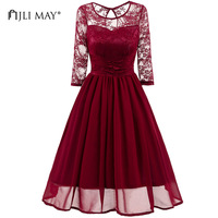 JLI MAY Party Lace Dress Women Black Chiffon Half Sleeve O Neck Slim A Line Elegant