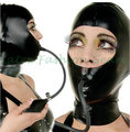 Latex Rubber Hood Mask With Inflatable Gag Rubber Mask Fetish Costume