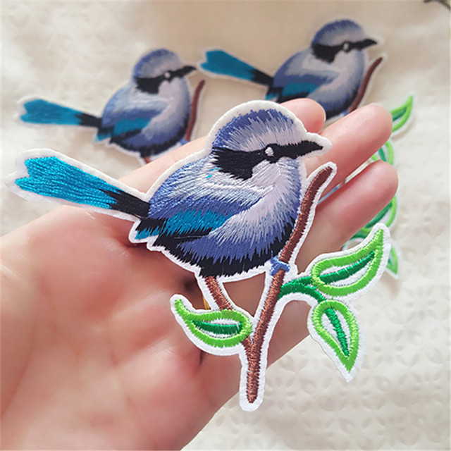 1Pcs Blue Bird Patches for Clothing Iron On Patch Embroidered Bird Applique  Shirt Jackets Jeans DIY Decor Holes Sticker Badge 9fffff226eaf