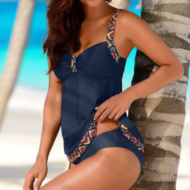 Women Plus Size Tankini Set Navy Blue Floral Bathing Suit Sexy Triangle Bottom Bikini Push Up Swimwear Female Tankini Swimsuit blue stripe pattern tie up sleeveless triangle bikini