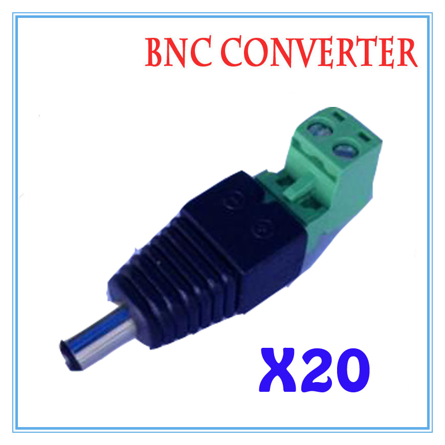 20pcs/lot DC Power Plug BNC Connector DC Male Elbow Adapter For CCTV IP Camera Power Supply Surveillance Accessories  50pcs 2 pole bnc dc male plug for color monitor video cctv power plug terminals
