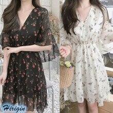Summer Casual Women Chiffon Print Dresses 2019 New Ruffles Half Sleeve V-Neck Dress