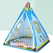 Kids tent Indian triangle spire baby play house indoor outdoor for gifts(no balls)