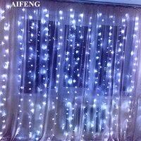 AIFENG Led Curtain Fairy String Light 3Mx1 5M 3Mx2M 3Mx3M Garland 144Led 192Led 300Led Christmas Lights