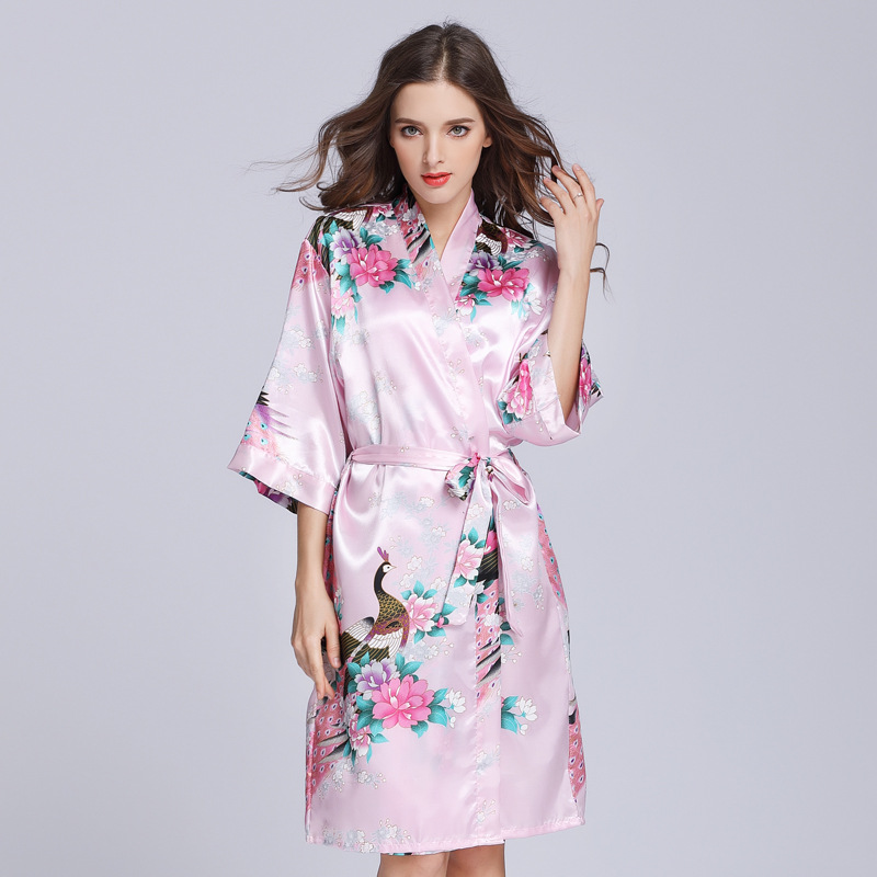 Ms. Summer Simulation Silk Pajamas Thin Peacock Printed Robe Sleeve Home Service