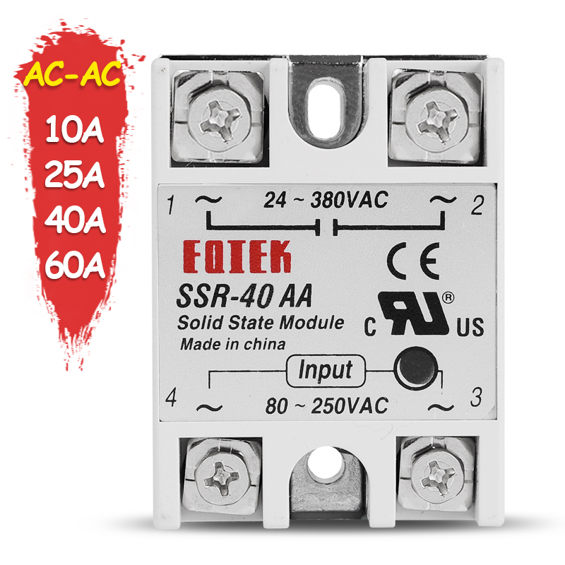 10A 25A 40A 60A AC-AC Single Phase Solid State Relay AC SSR SSR-10AA SSR-25AA SSR-40AA SSR-60AA 80-250VAC 220V TO 24-380V AC new and original fotek single phase ac solid state relay ssr 75aa 75a 24 380vac 80 250vac